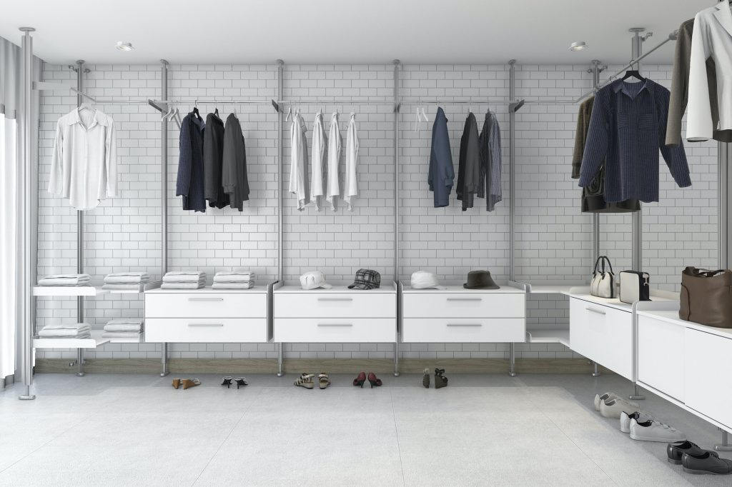 3d rendering minimal white brick walk in closet