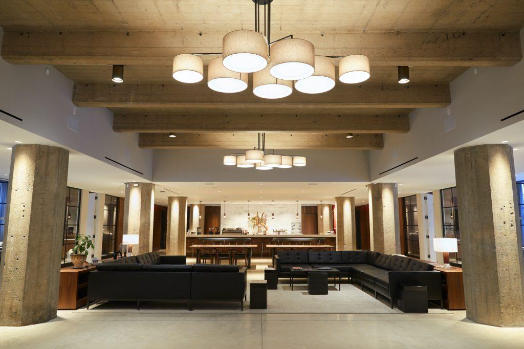 Empty bar lounge area in modern business premises, wide shot
