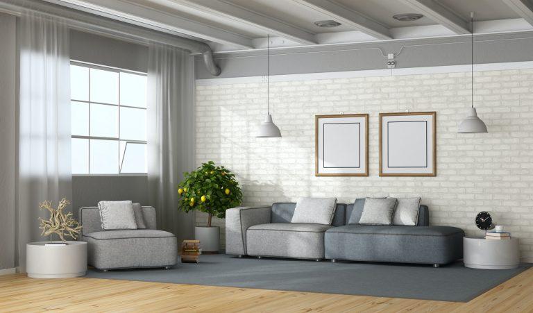 Modern living room in a loft