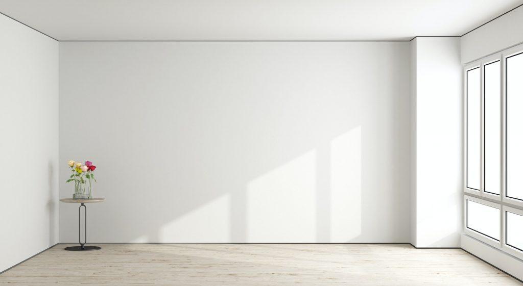 White empty living room